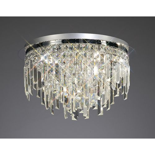 Diyas IL30251 Maddison Crystal 6 Light Round Flush Ceiling Fitting Polished Chrome Frame