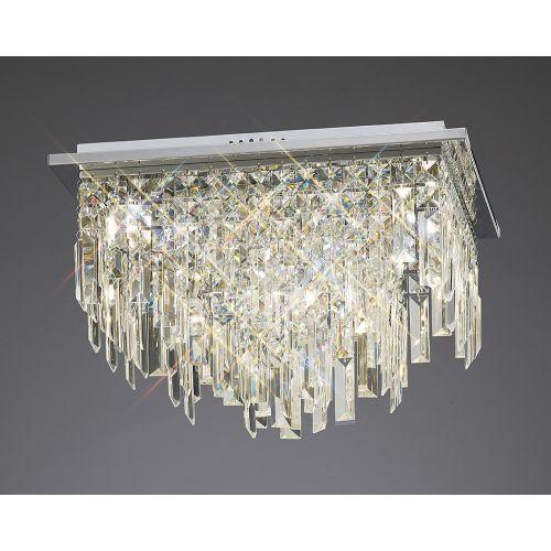 Diyas IL30252 Maddison Crystal 6 Light Square Flush Ceiling Fitting Polished Chrome Frame