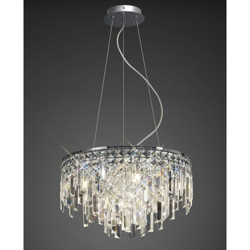 Diyas IL30254 Maddison Crystal 6 Light Round Pendant Polished Chrome Frame