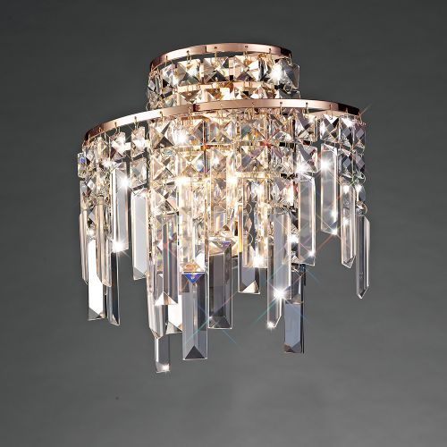 Diyas IL31710 Maddison Crystal Double Wall Lamp Rose Gold Frame