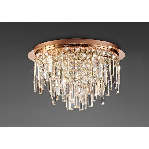 Diyas IL31711 Maddison Crystal 6 Light Round Flush Ceiling Fitting Rose Gold Frame
