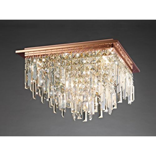 Diyas IL31712 Maddison Crystal 6 Light Square Flush Ceiling Fitting Rose Gold Frame