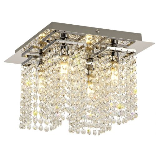 Lekki Mistique Bathroom Ceiling Fitting 4 Light G9 IP44 Chrome Crystal LEK3191
