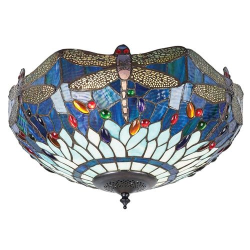 Interiors 1900 Tiffany Dragonfly Blue Medium 2 Light Flush Ceiling Light 70722