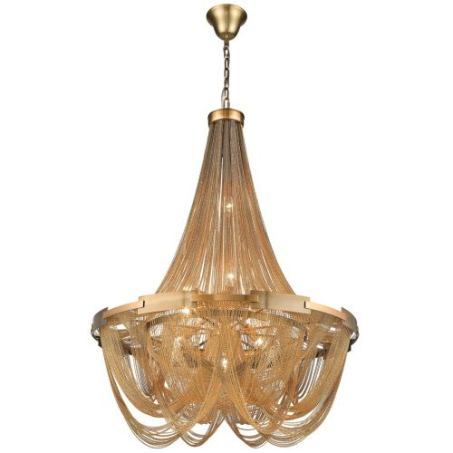 KES NAT10CHANBRA Natasha 10 Light Chain Chandelier Brass Frame