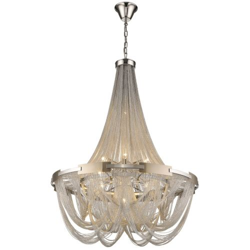 KES NAT10CHANNIC Natasha 10 Light Chain Chandelier Nickel Frame