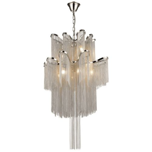 KES NAT12CHANNIC Natasha 12 Light Large Chain Chandelier Nickel Frame