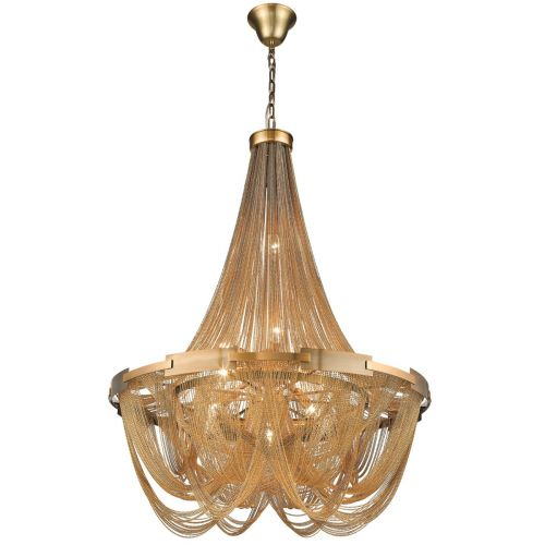KES NAT06CHANBRA Natasha 6 Light Chain Chandelier Brass Frame