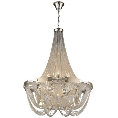 KES NAT06CHANNIC Natasha 6 Light Chain Chandelier Nickel Frame