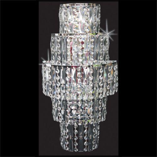 Impex CB03220/WB/CH New New York 3 Light Czech Crystal Wall Light Chrome