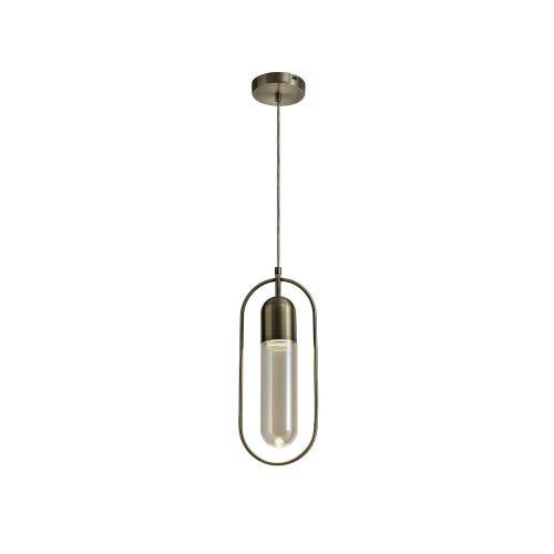 Lekki Nifty Pendant Light Fitting 7W LED 4000K 790lm Antique Brass Amber LEK3230