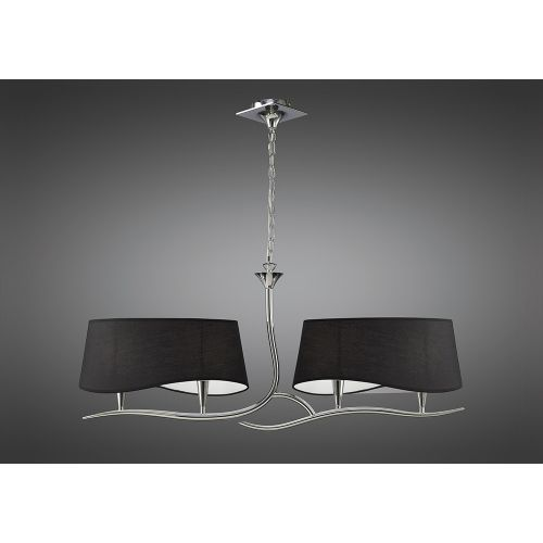 Mantra M1901 BS Ninette Pendant Fitting 2 Arm 4 Light Polished Chrome Black Shades