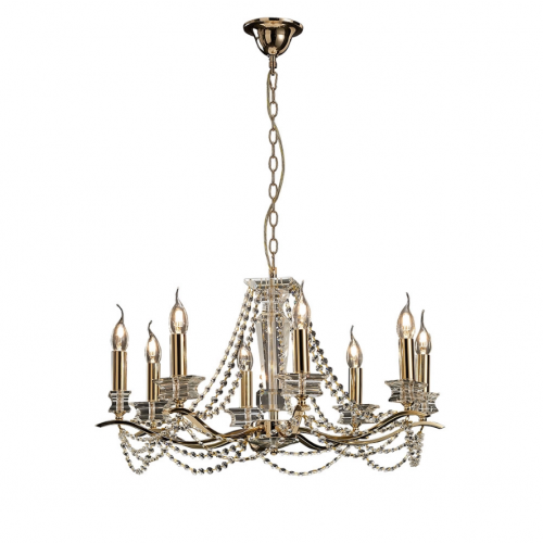 Diyas IL30728 Nydia Crystal 8 Light Pendant French Gold Frame