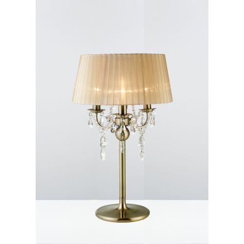 Diyas IL30065 Olivia Table Lamp Soft Bronze Shade 3 Light Antique Brass Crystal