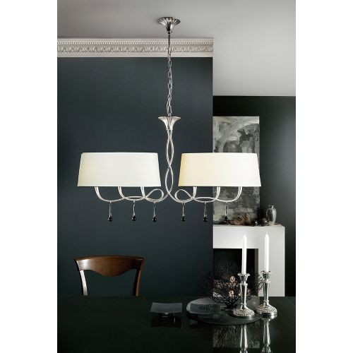 Mantra M0531 CS Paola Pendant 2 Arm 6 Light E14 Silver Painted Cream Shades Black Glass Droplets
