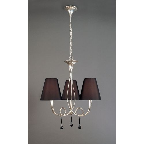 Mantra M0532 Paola Pendant 3 Light E14 Silver Painted Black Shades Black Glass Droplets