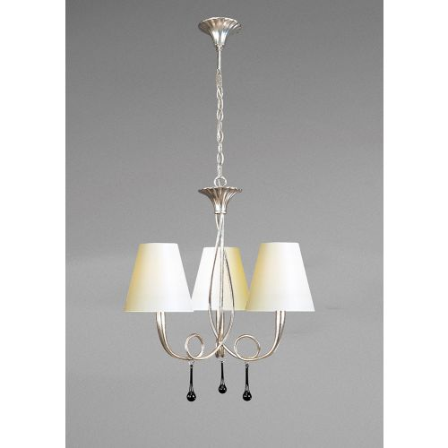 Mantra M0532 CS Paola Pendant 3 Light E14 Silver Painted Cream Shades Black Glass Droplets