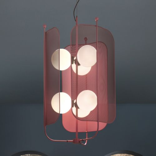 Masiero Papilio Ceiling 67cm Lantern Pendant 6 x E14 Burgundy PAPILIO-S3+3-V33