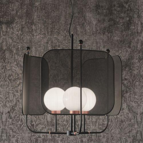 Masiero Papilio Ceiling 88cm Pendant 3 x E14 Embossed Black PAPILIO-S3-G-V91