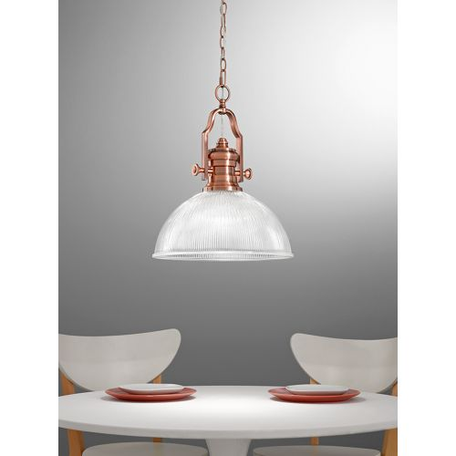 Franklite Charter Copper Vintage Pendant Ribbed Glass Shade PCH113/955