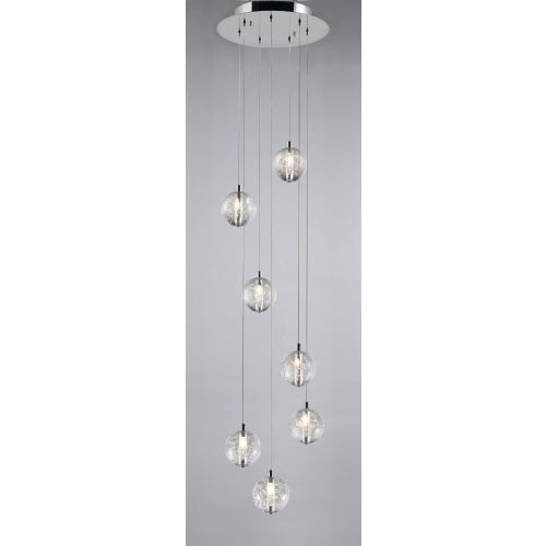 Avivo Bubbles PD1302-7A CH/CL 7 Light Pendant Chrome Clear Glass Ceiling Fitting