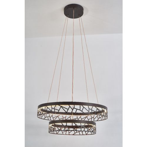 Avivo Mosaic PD18022-60-2A CB 2 Light LED Pendant Coffee Black Ceiling Fitting