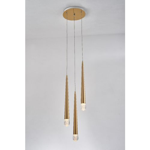 Avivo Droplet PD2309-3A B 3 Light LED Pendant Brass Ceiling Fitting