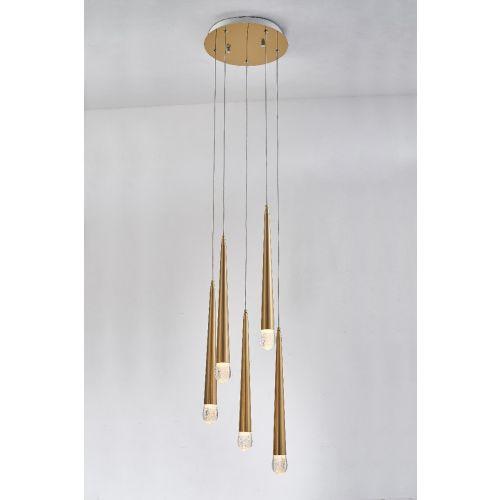 Avivo Droplet PD2309-5A B 5 Light LED Pendant Brass Ceiling Fitting