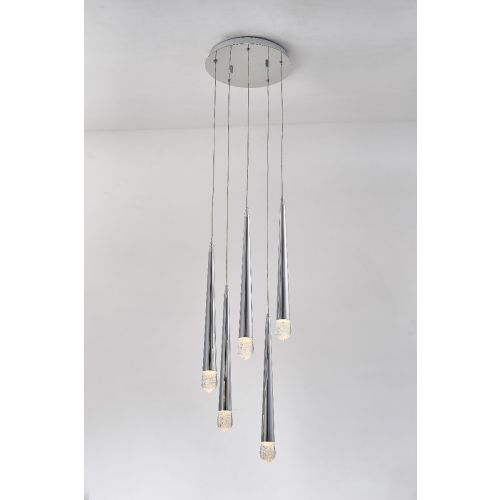 Avivo Droplet PD2309-5A CH 5 Light LED Pendant Chrome Ceiling Fitting