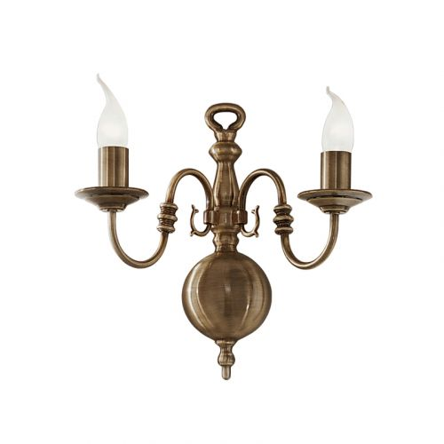 Franklite Halle 2 Light Bronzed Brass Wall Fitting PE7942