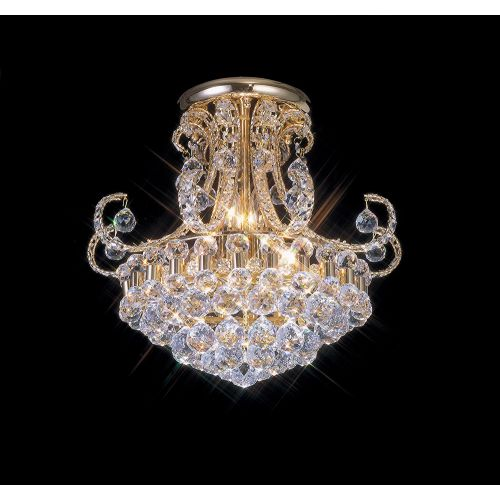 Diyas IL30006 Pearl Crystal 9 Light Semi Flush Ceiling Fitting French Gold Frame