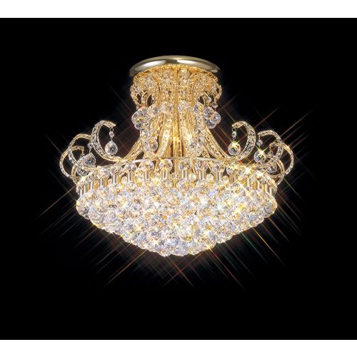Diyas IL30007 Pearl Crystal 12 Light Semi Flush Ceiling Fitting French Gold Frame