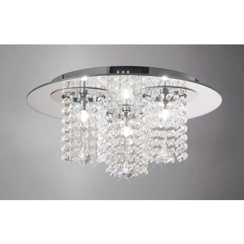Diyas IL31465 Pegasus Crystal Ceiling Flush 3 Light Chrome Mirror Polished Chrome Frame