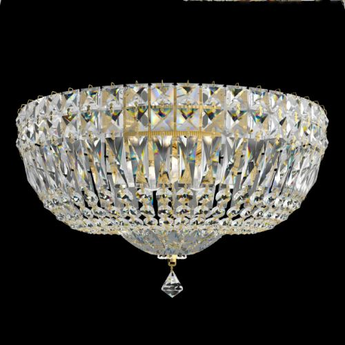 Schonbek 5893E-211M Petit Crystal Deluxe 6 Light Flush Ceiling Fitting Aurelia Frame