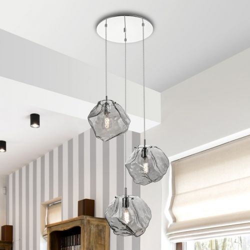 Schuller Petra 213301 Spiral 3 Light Pendant Smoked Glass Chrome Frame