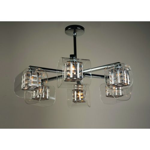 Impex Avignon PGH01515/06/CH 6 Light Semi-Flush Pendant Chrome Ceiling Fitting