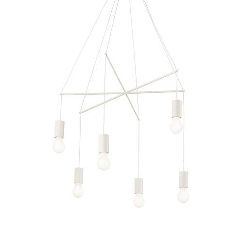 Ideal Lux 186795 Pop 6Lt White Ceiling Multi-Arm Pendant