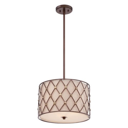 Quoizel QZ/BROWNLATT/P/M Brown Lattice 3Lt Copper Canyon Ceiling Pendant