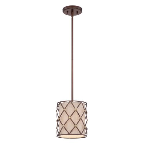 Quoizel QZ/BROWNLATT/P/S Brown Lattice 1Lt Copper Canyon Ceiling Mini Pendant