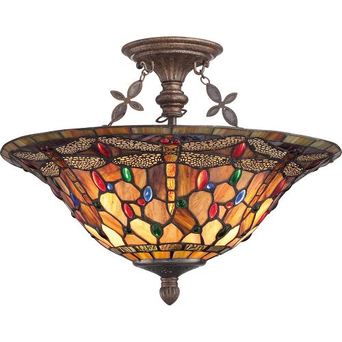 Quoizel Jewel Tiffany Dragonfly Extra Large Semi Flush Mount ELS/QZ/JDRAGONFLY/SF