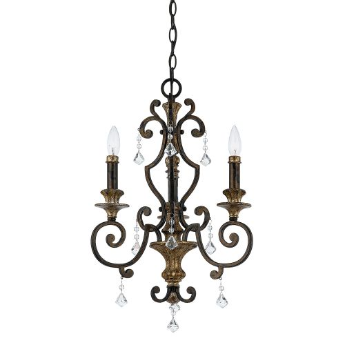 Quoizel Heirloom Bronze Gold Ceiling Light Crystal QZ/MARQUETTE3