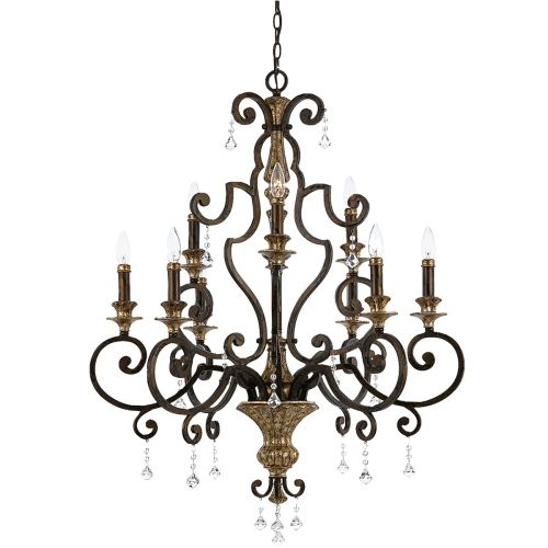 Quoizel Heirloom Bronze Gold Ceiling Light Crystal QZ/MARQUETTE9