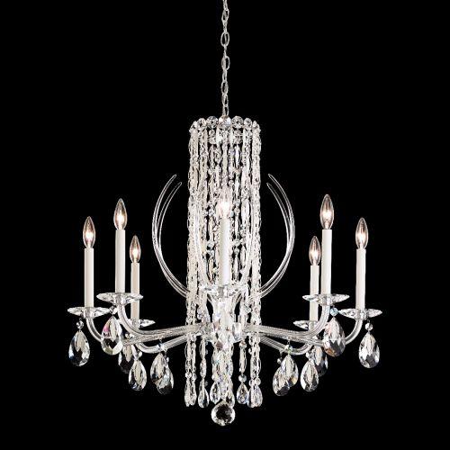 Schonbek Sarella RS8308 Crystal Ceiling Chandelier 8 Light White