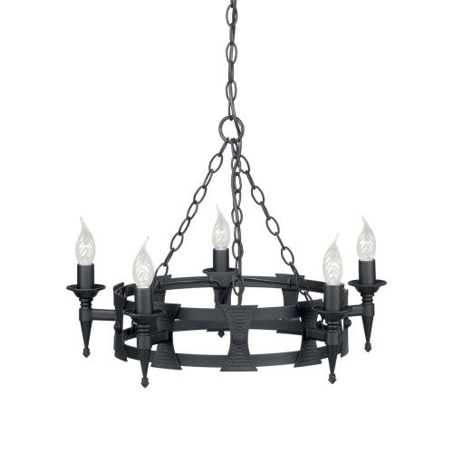 Elstead Saxon Ironwork Hand Painted Black Ceiling Fitting SAX5 BLK