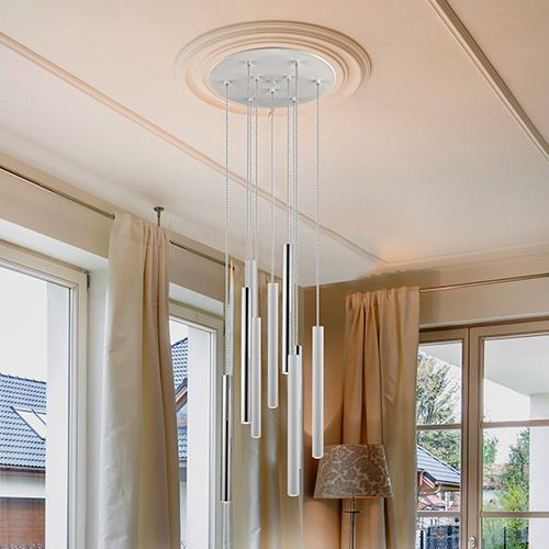 Schuller Varas 373261 LED 9 Light Round Pendant White Frame