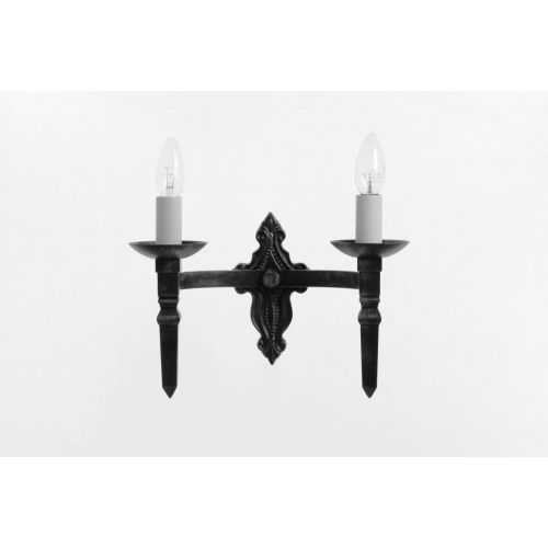 Impex SMRR00132/A Baronial 2Lt Aged Iron Wall Light