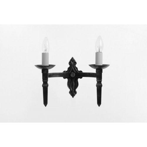 Impex SMRR00132/MBLK Baronial 2Lt Matt Black Wall Light