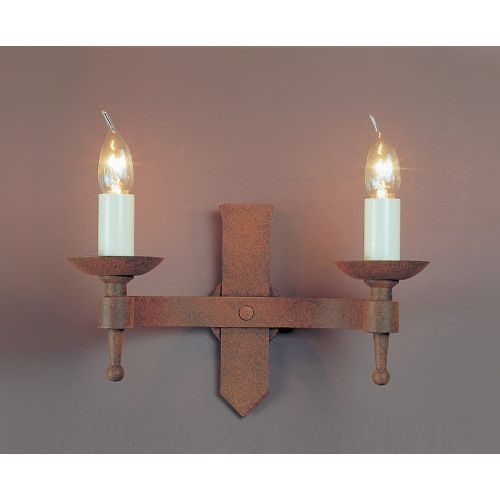 Impex SMRR01072/A Saxon 2Lt Aged Iron Twin Wall Light