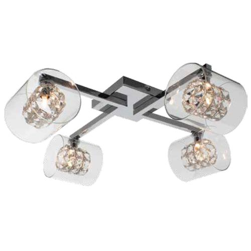 Impex CFH211171/04/PL/CH Sonja 4Lt Polished Chrome Crystal Ceiling Flush