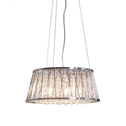 Endon Sophia 76694 Crystal 5 Light Pendant Chrome Frame